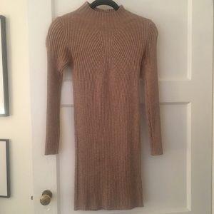 Korean knit sweater turtleneck mock neck dress